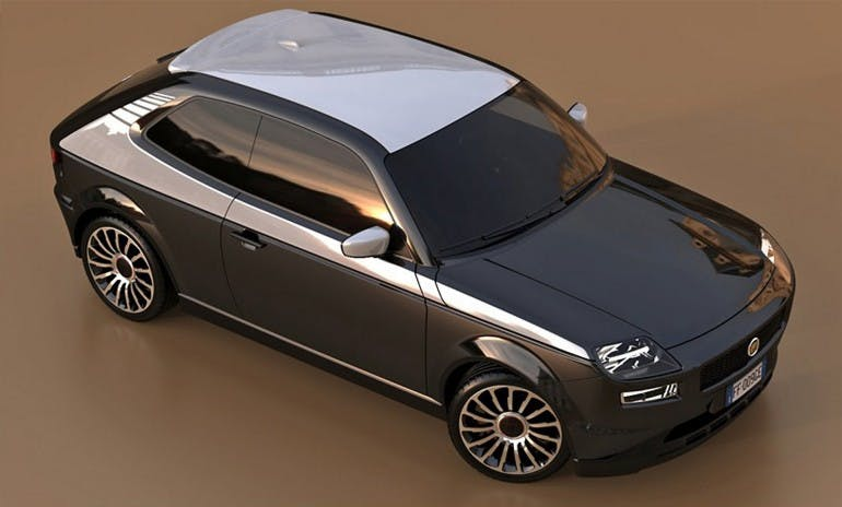 Fiat 127 color nero con tettuccio bianco vista di traverso e dall'alto