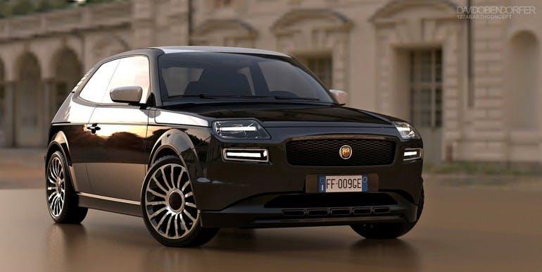 Modella di Fiat 127 color nero vista frontalmente in tre quarti