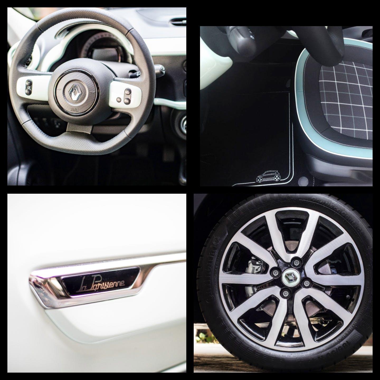 4 foto: in alto a sinistra il volante Renault, in alto a destra sedili e tappeti della Renault, in basso a sinistra il logo