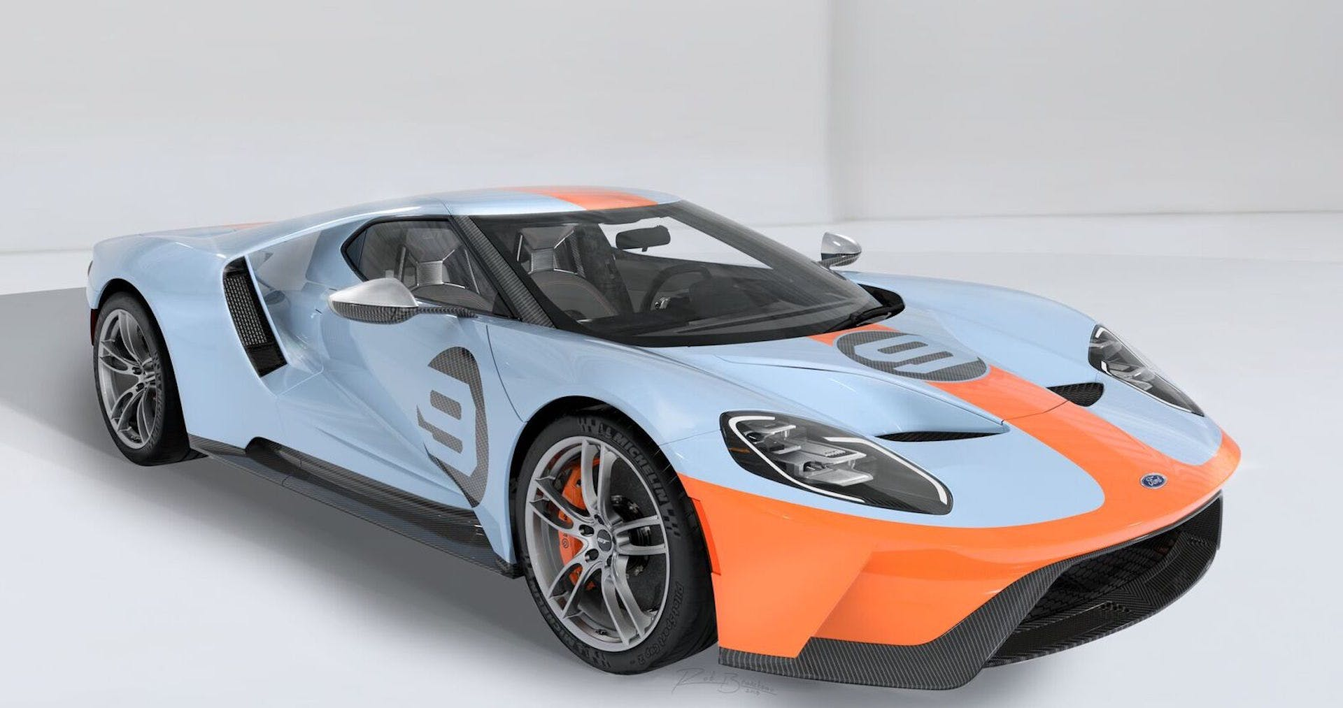 Ford GT Heritage Edition 3/4 anteriore