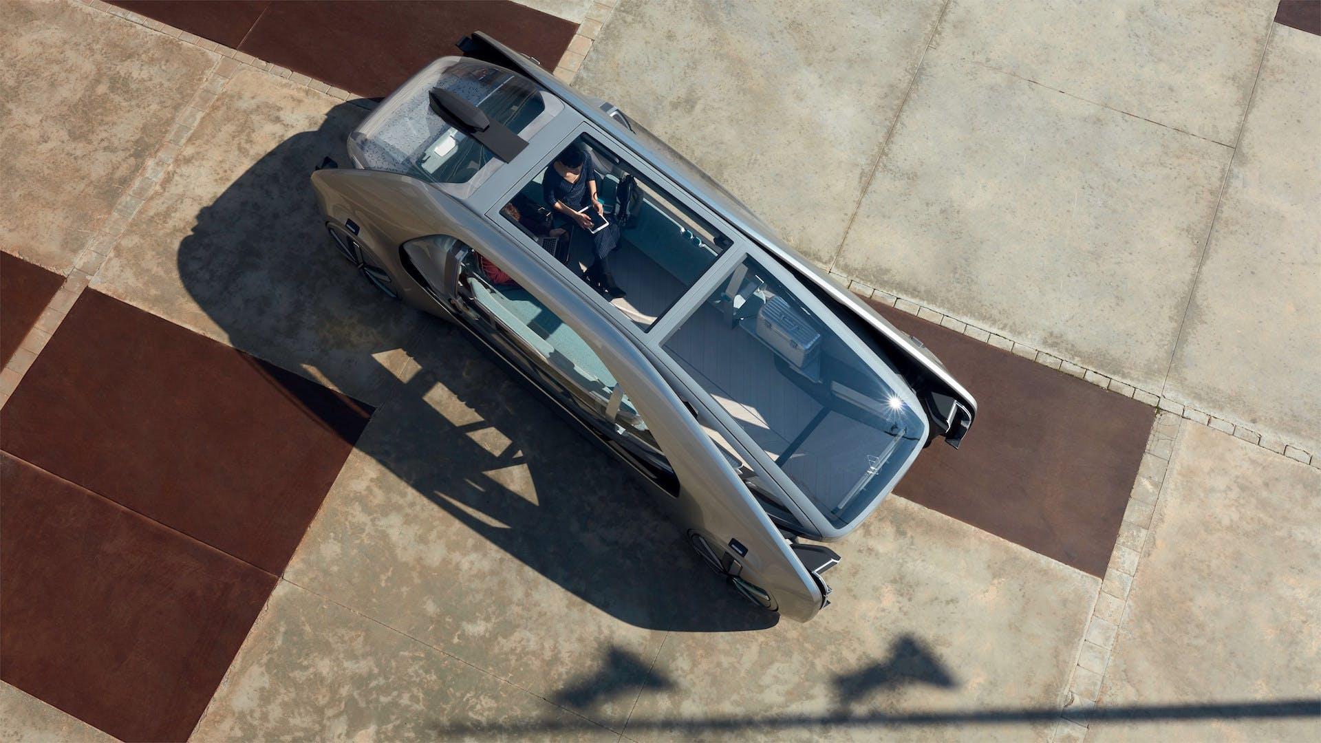 Renault ez-go vista dall'alto piazza