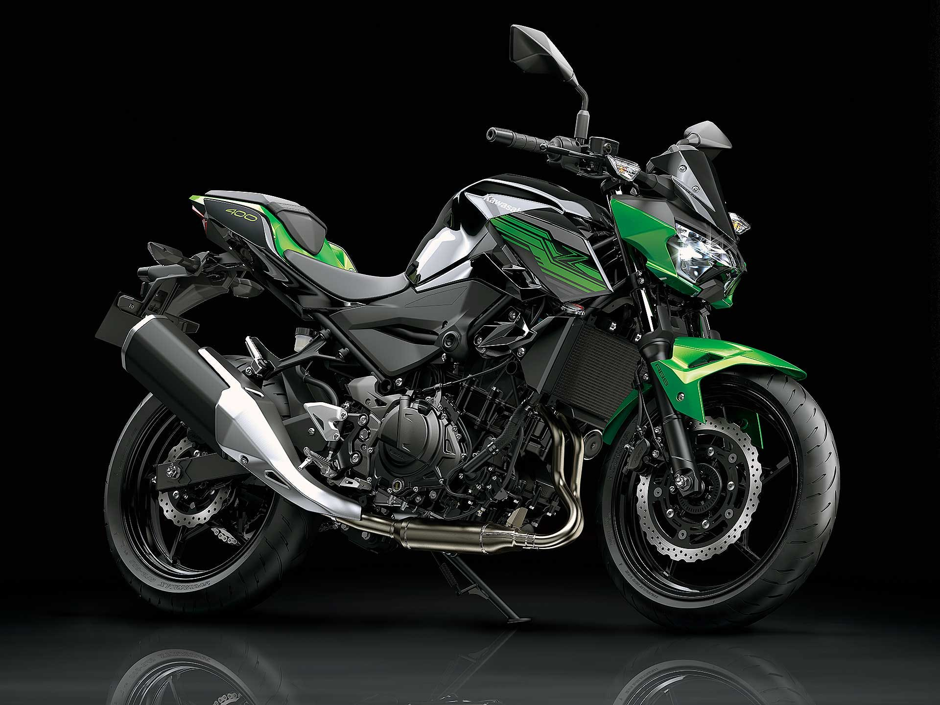 Kawasaki Z400 nera e verde moto per neopatentati A2
