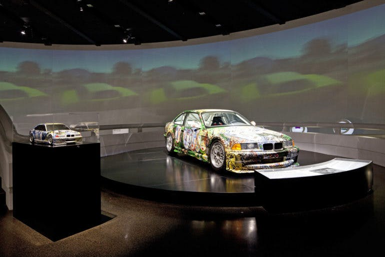 BMW Art Car exhibition at the BMW Museum, October 6, 2010 to June 30, 2011. Sandro Chia, Art Car, 1992 - BMW 3 Series saloon-car racing prototype [front] and the corresponding marquette. (10/2010)