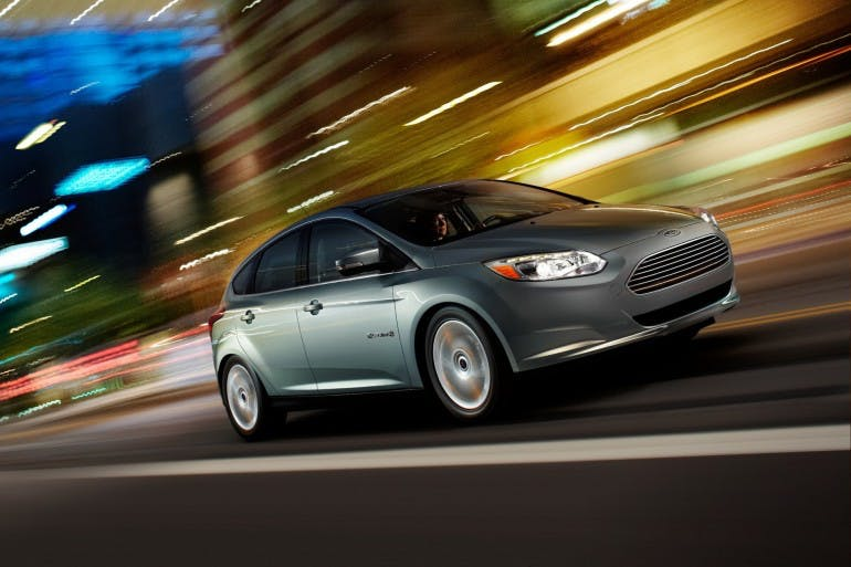 2012 Ford Focus Electric: Focus Electric not only is designed to provide outstanding energy efficiency and reliable operation, it also delivers real driving enjoyment. Much of the Focus Electric's steering, handling and braking feel is shared with the agile, sporty, fuel-powered five-door hatchback Focus model upon which it's based. (12/14/2011)