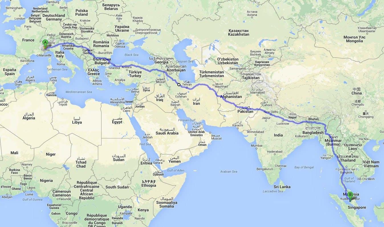 Mattia Miraglio Il giro del mondo a piedi e in bici mappa itinerario