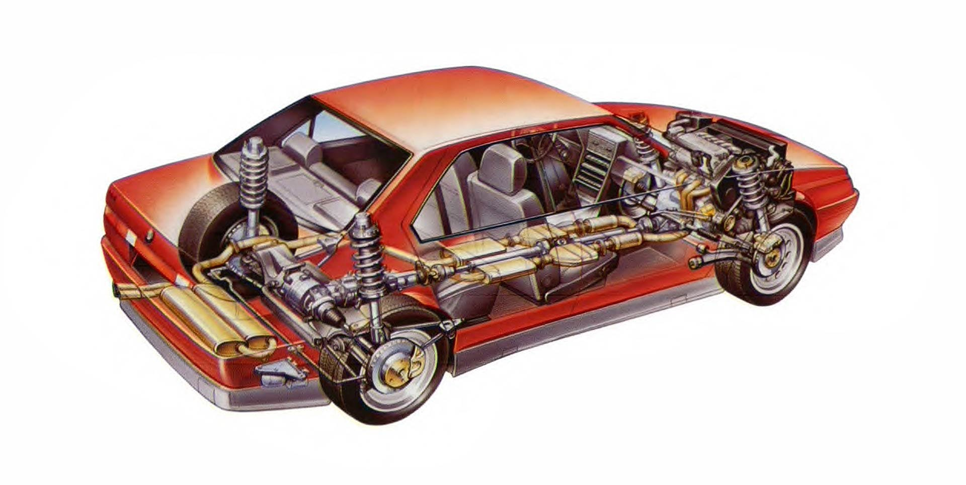 Alfa Romeo 164 Q4 schema in trasparenza con componenti e organi meccanici della trazione integrale