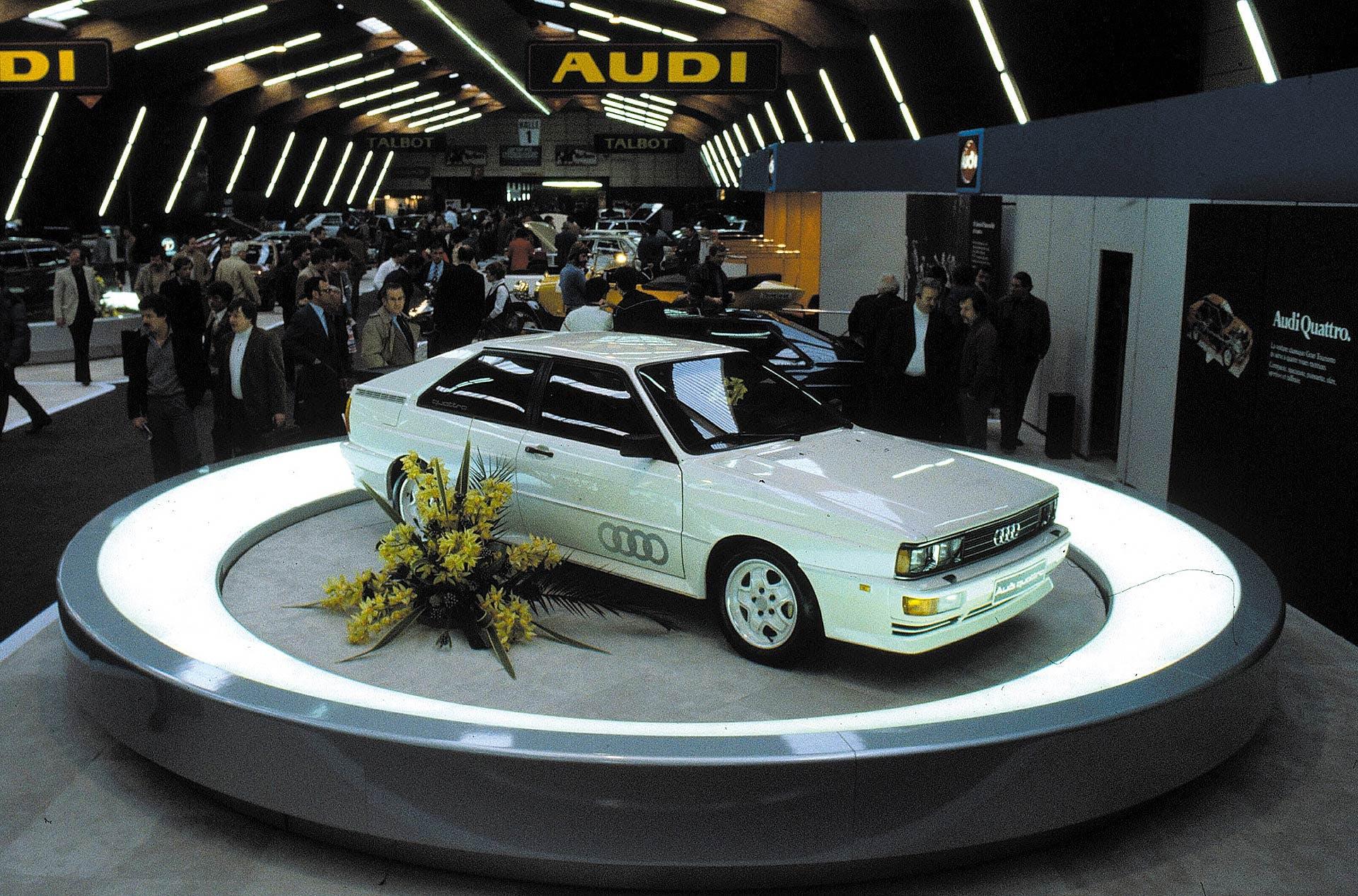 Il 3 marzo 1980 al salone dell'auto di Ginevra viene presentata l'Audi Quattro