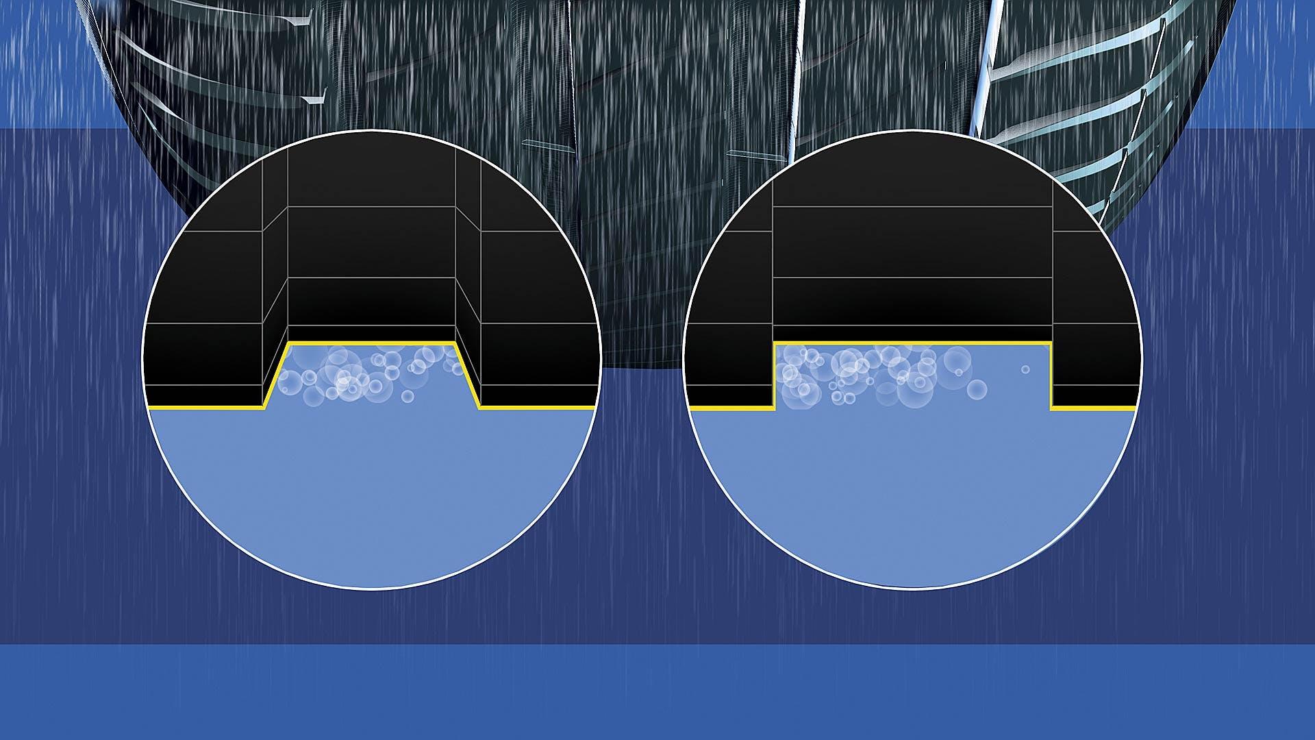 Il battistrada del Michelin Primacy 4: il battistrada ha trama rettangolare affiancata a quella trapezoidale