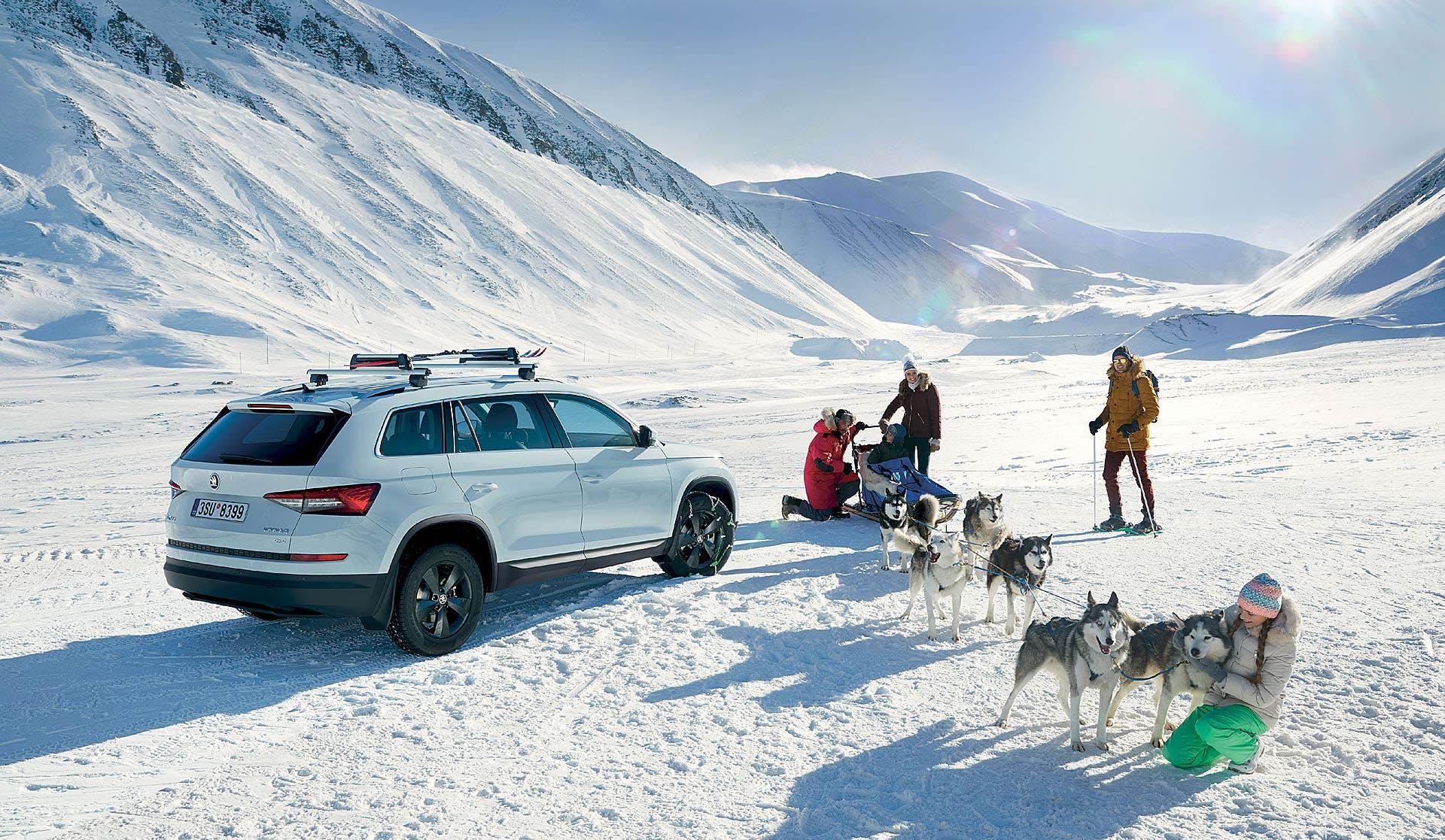 Škoda Kodiaq bianca e cani Husky pronti all'escursione