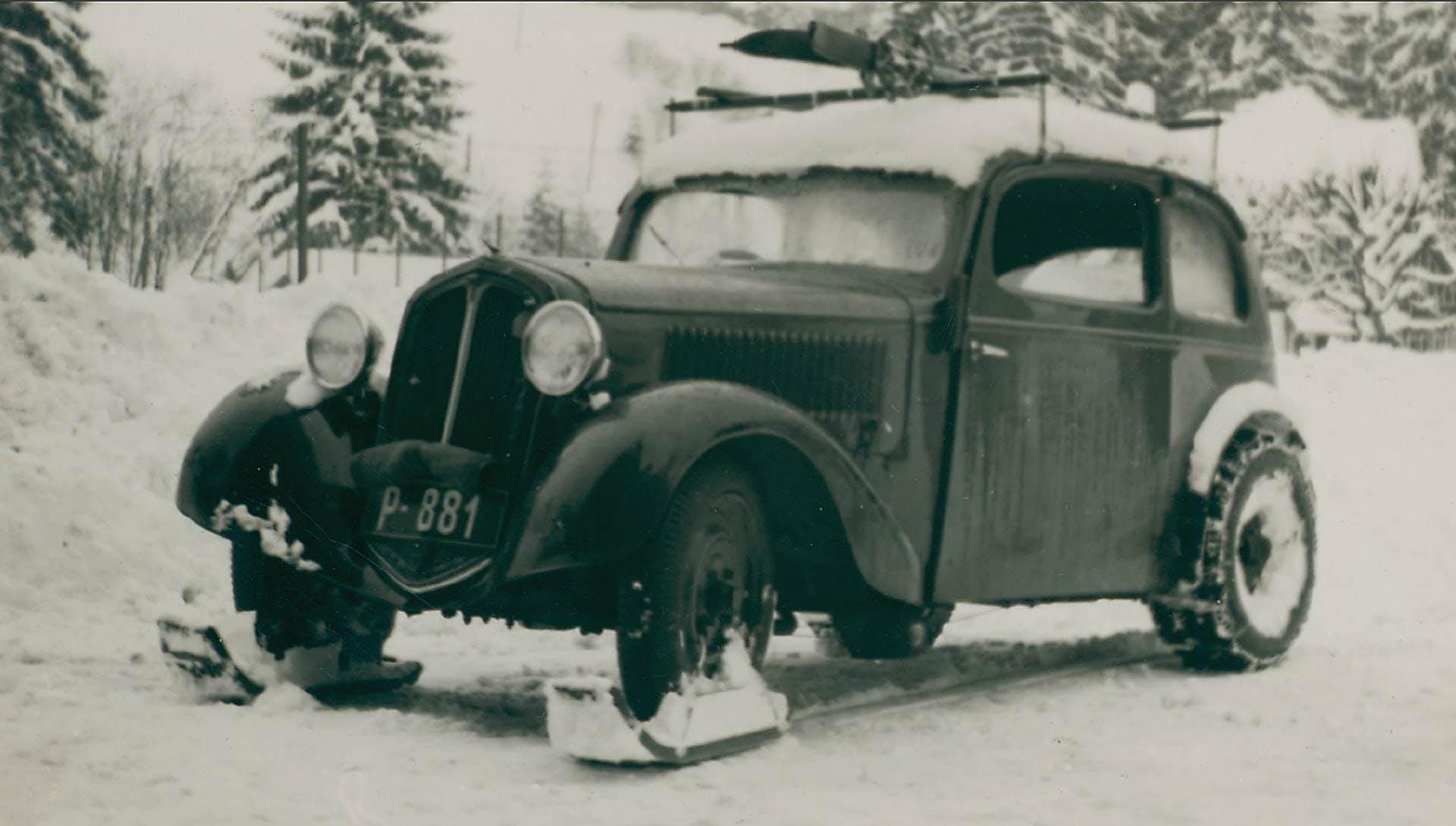 Primi esperimenti anteguerra di Škoda di auto che possano affrontare la neve