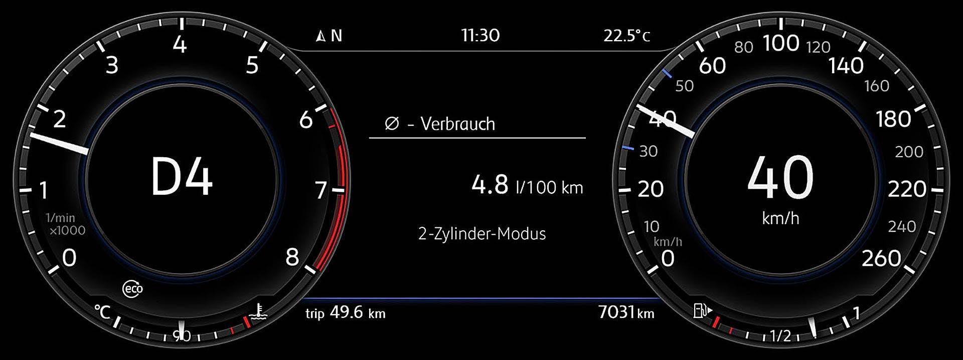 Display dell VW Golf 1.5 TSI con disattivazione 2 cilindri