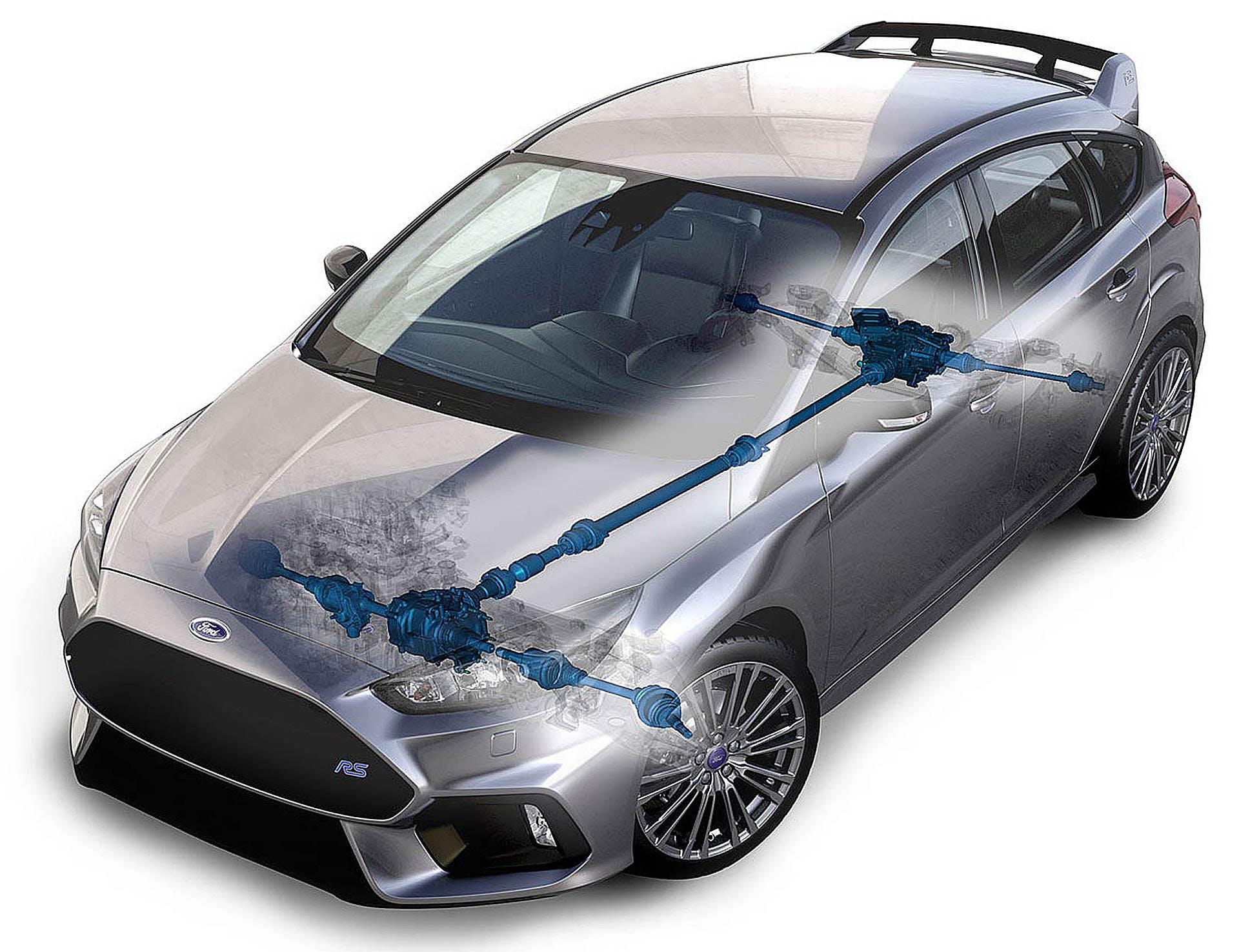 Ford Focus RS MKIII schema in trasparenza della trazione integrale GNK