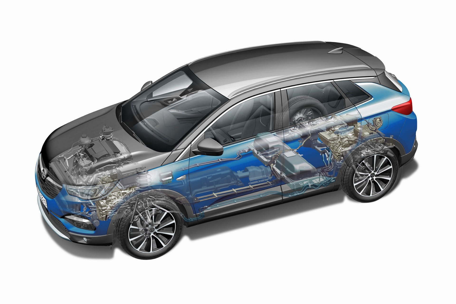 Opel Grandland X Hybrid4 Schema tecnico auto ibrida plug in