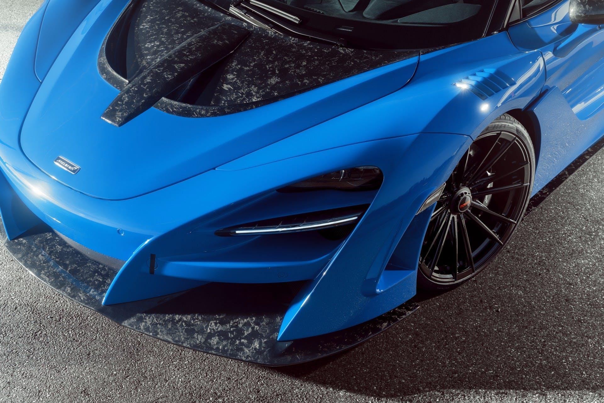 McLaren 720S Spider Novitec N-Largo, blu, particolare cofano