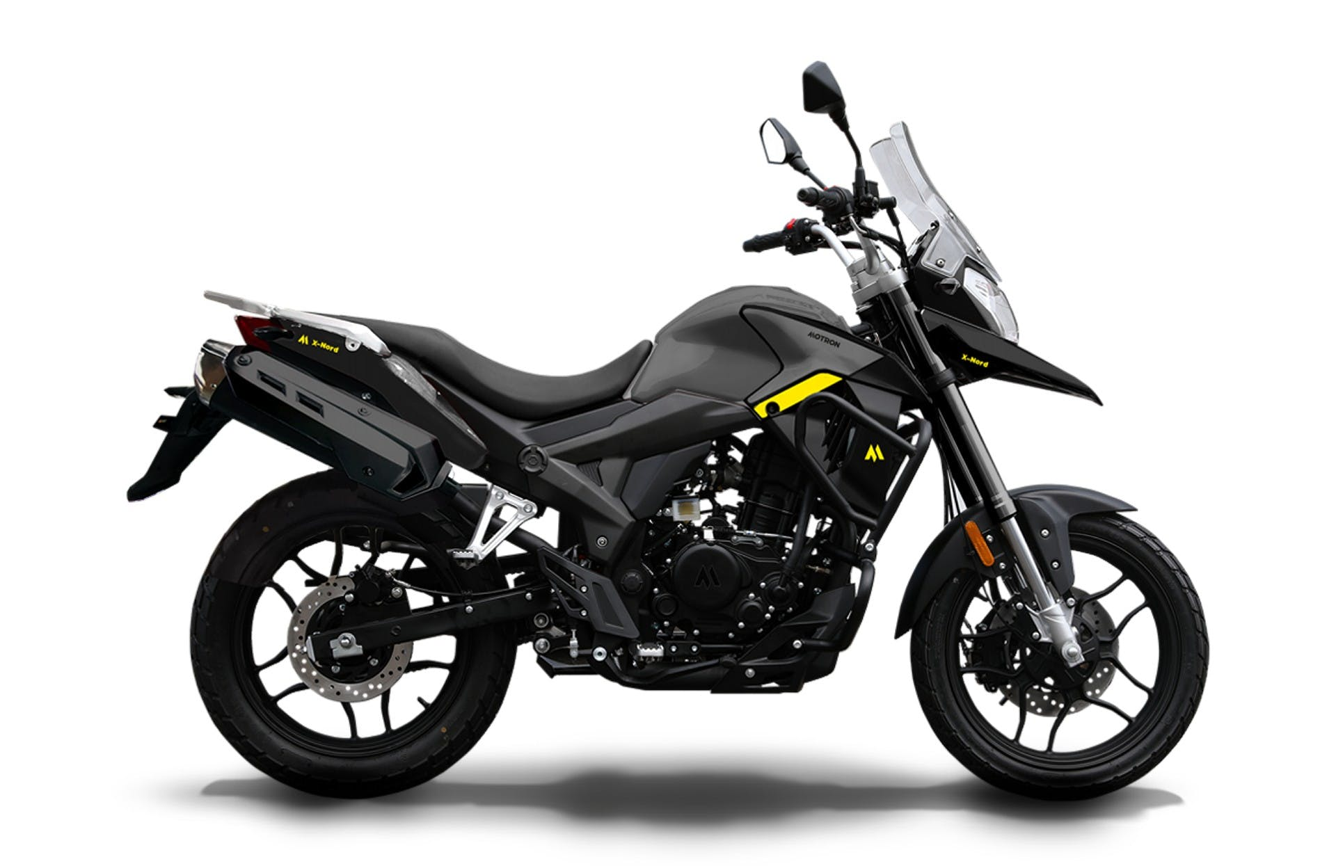 motron motorcycles moto XNord 125 grigia vista laterale in studio