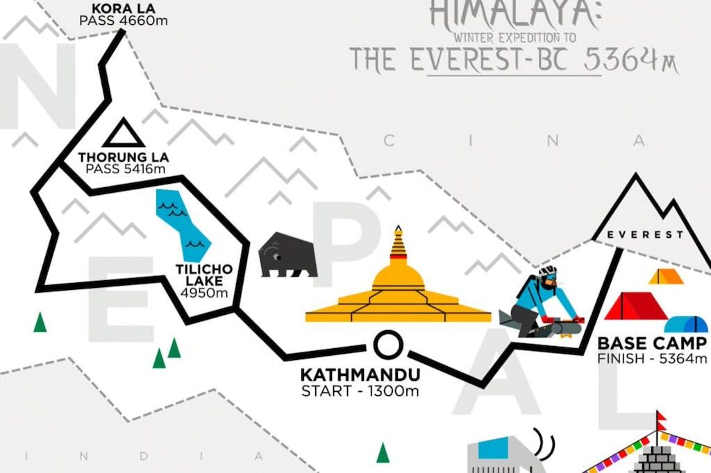 Mappa spedizione Everest Omar Di Felice