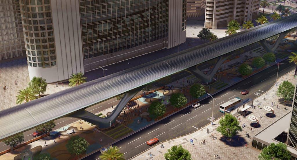 Hyperloop trasporti capsula supersonica che viaggia in un tubo in città