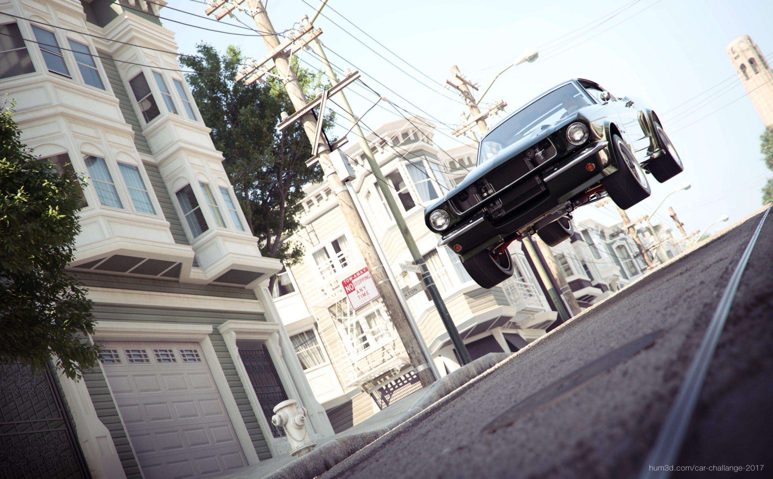 Ford Mustang Fastback del 1964 in aria dopo aver attraversato uno scollinamento su asfalto nelle strade di San Francisco
