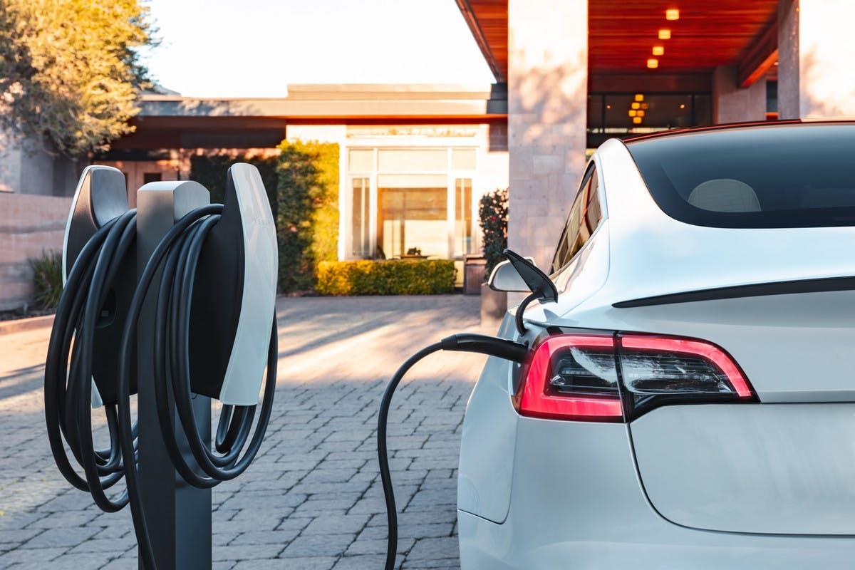 Dettaglio posteriore di una Tesla in ricarica tramite colonnina privata