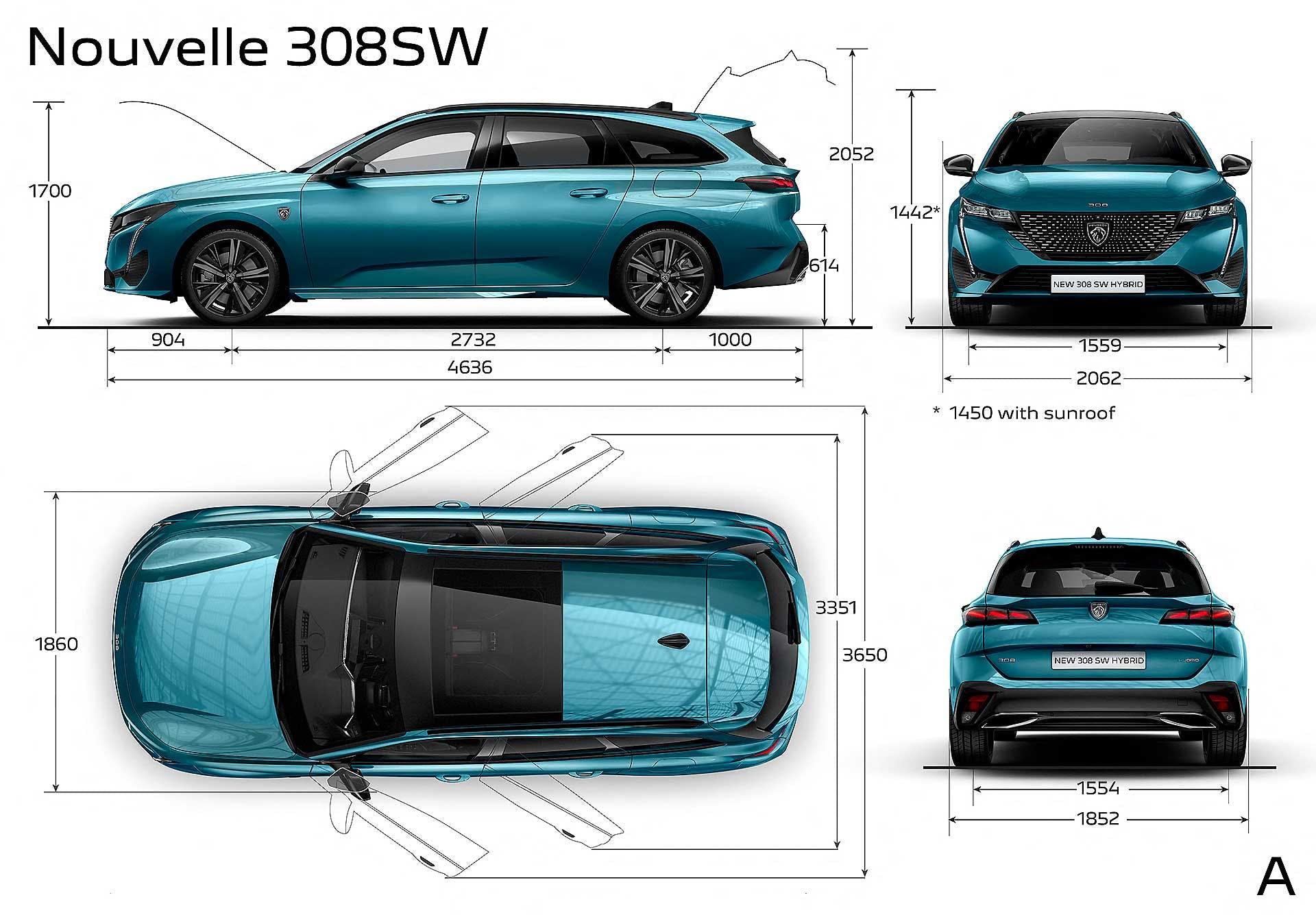 Peugeot 308 SW 2021 Dimensioni e misure