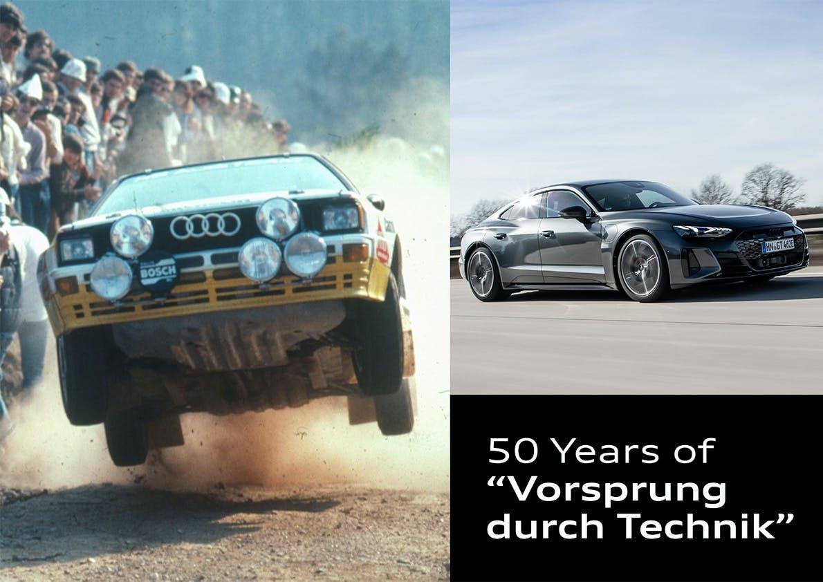 """Manifesto Audi per i 50 anni """"all'avanguardia della tecnica"""""""