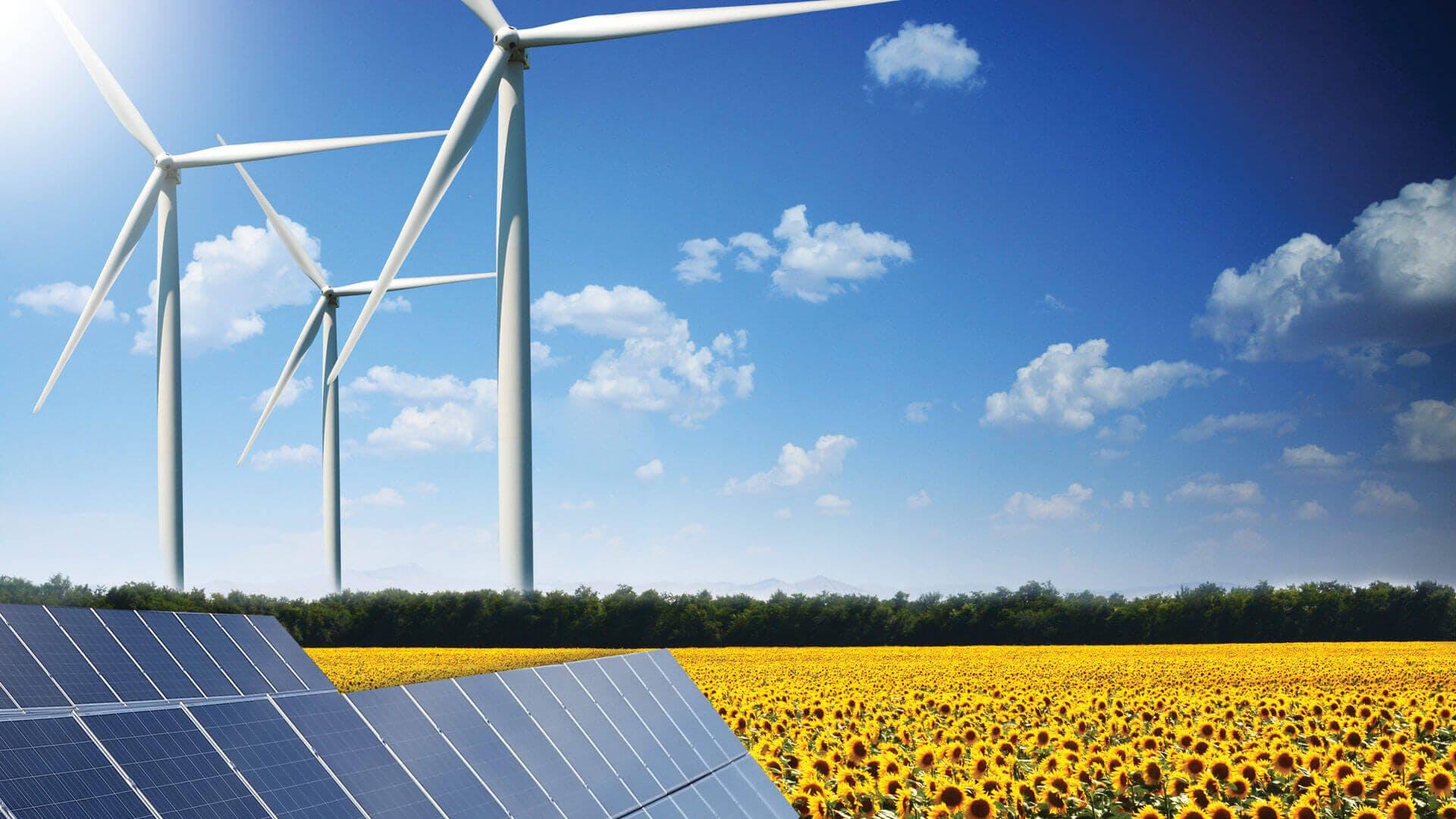 Pannelli solari in primo piano con pale eoliche sullo sfondo