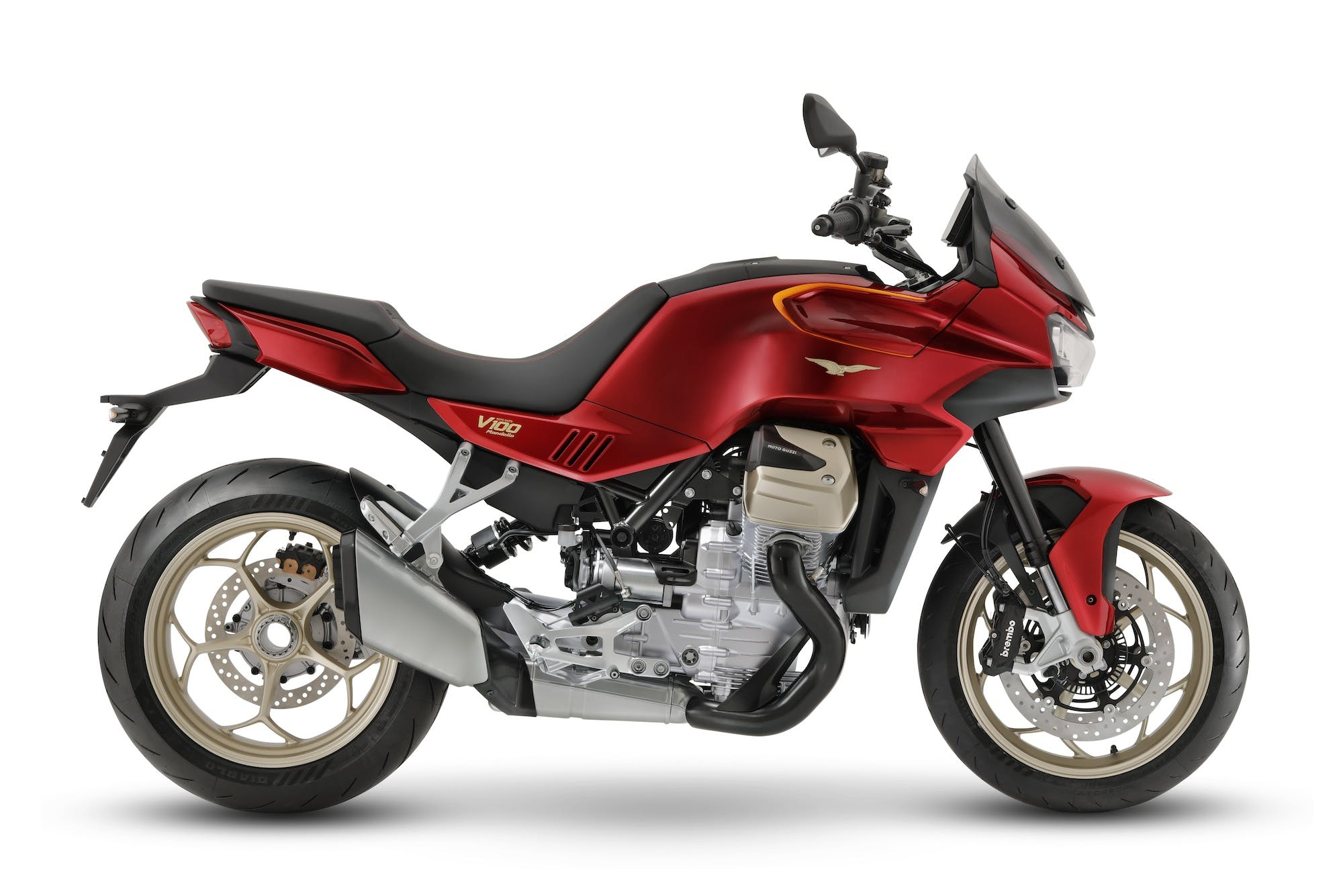 Moto Guzzi V100 Mandello vista laterale in studio
